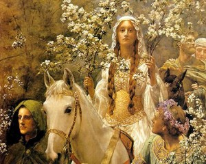 "Traditional image of Bright Fire festivity - John Collier's ""Queen Guinevre's Maying"""