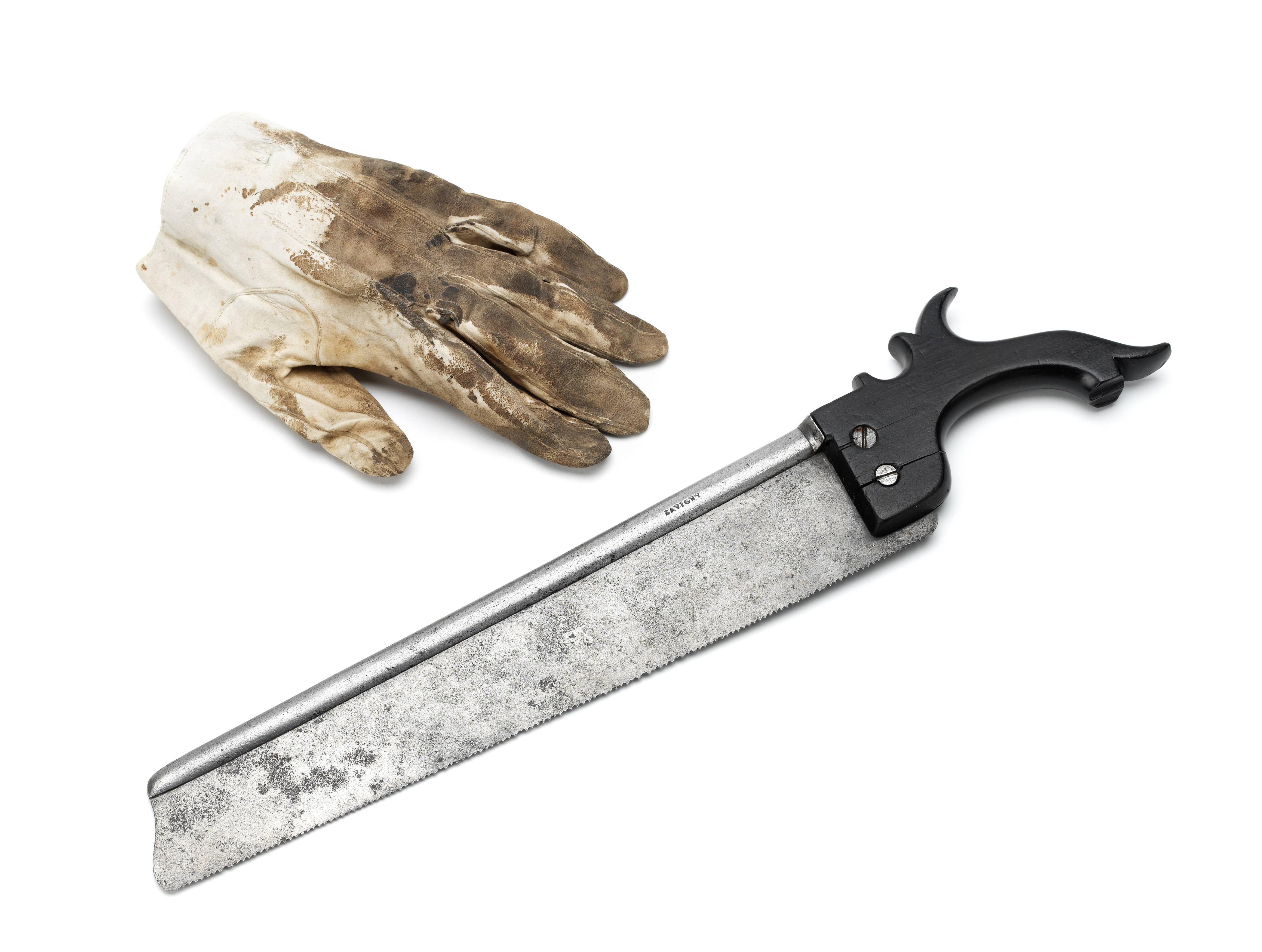 Saw and glove used to amputate Uxbridge's leg